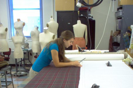 Student pictured working in the costume shop