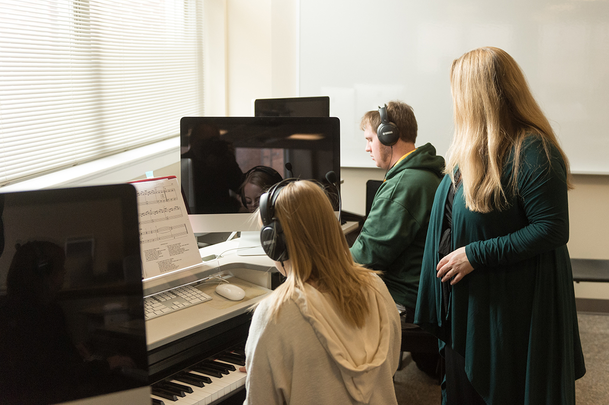 Students pictured working in the keyboard lab