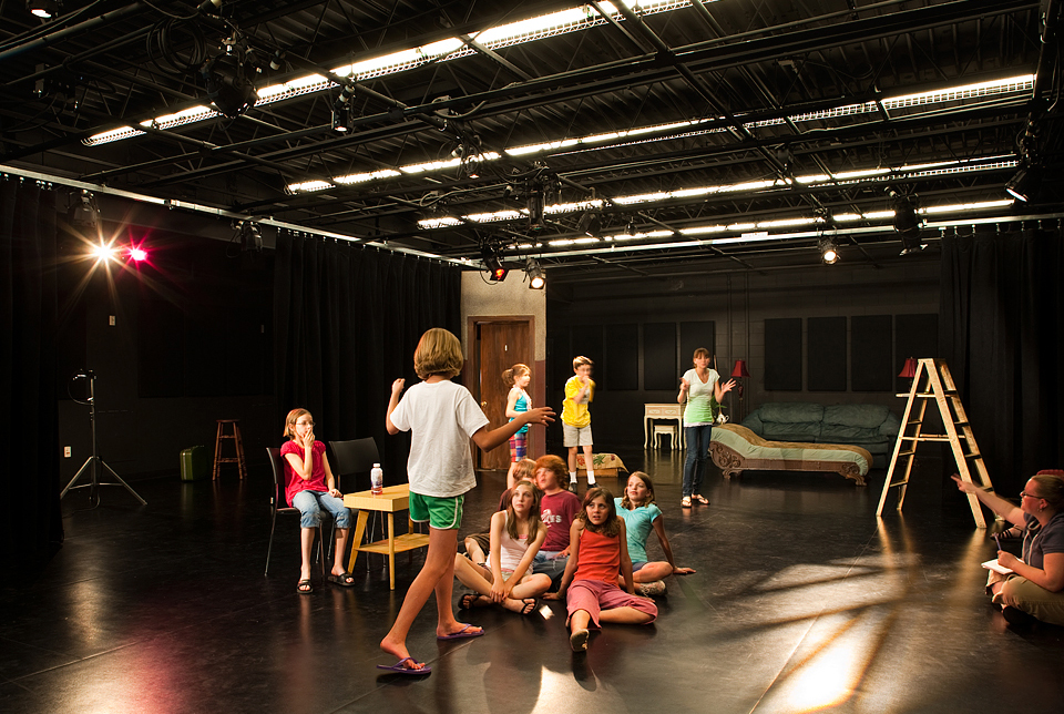 Kids Do It All pictured rehearsing in the Large Acting Lab