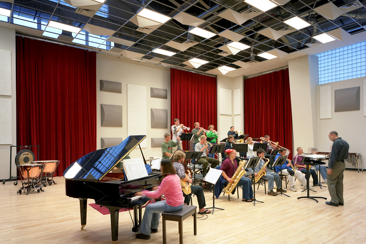 Students pictured rehearsing in Runyan Rehearsal Hall