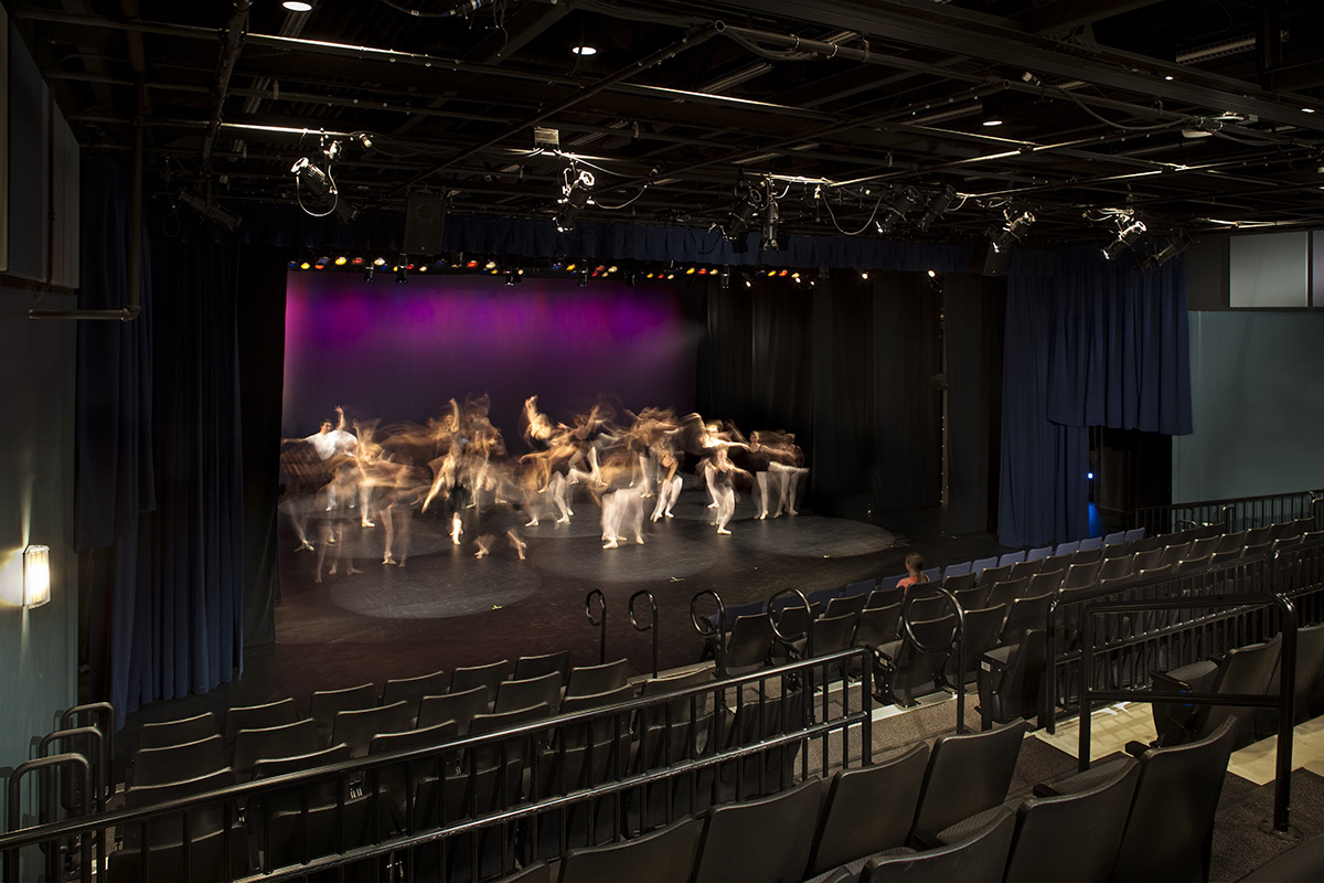 Students pictured rehearsing in the University Dance Theatre