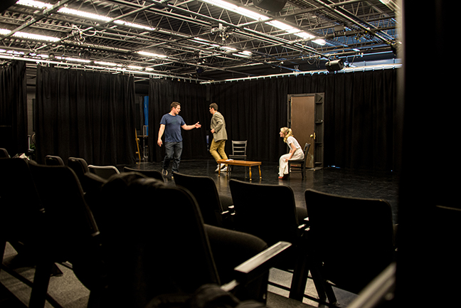 Students pictured rehearsing in the Large Acting Lab