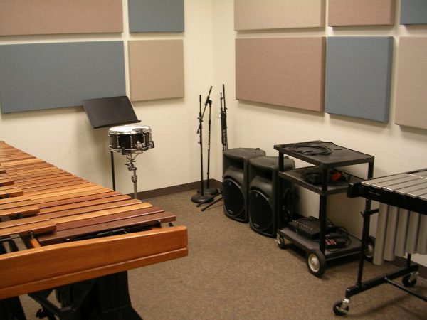 Percussion practice room G118B pictured